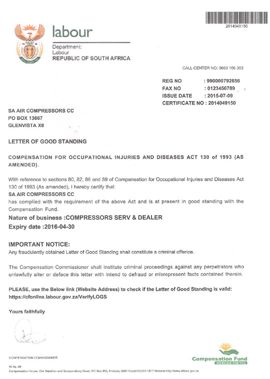 S.A. Air Compressors : Compensation Fund
